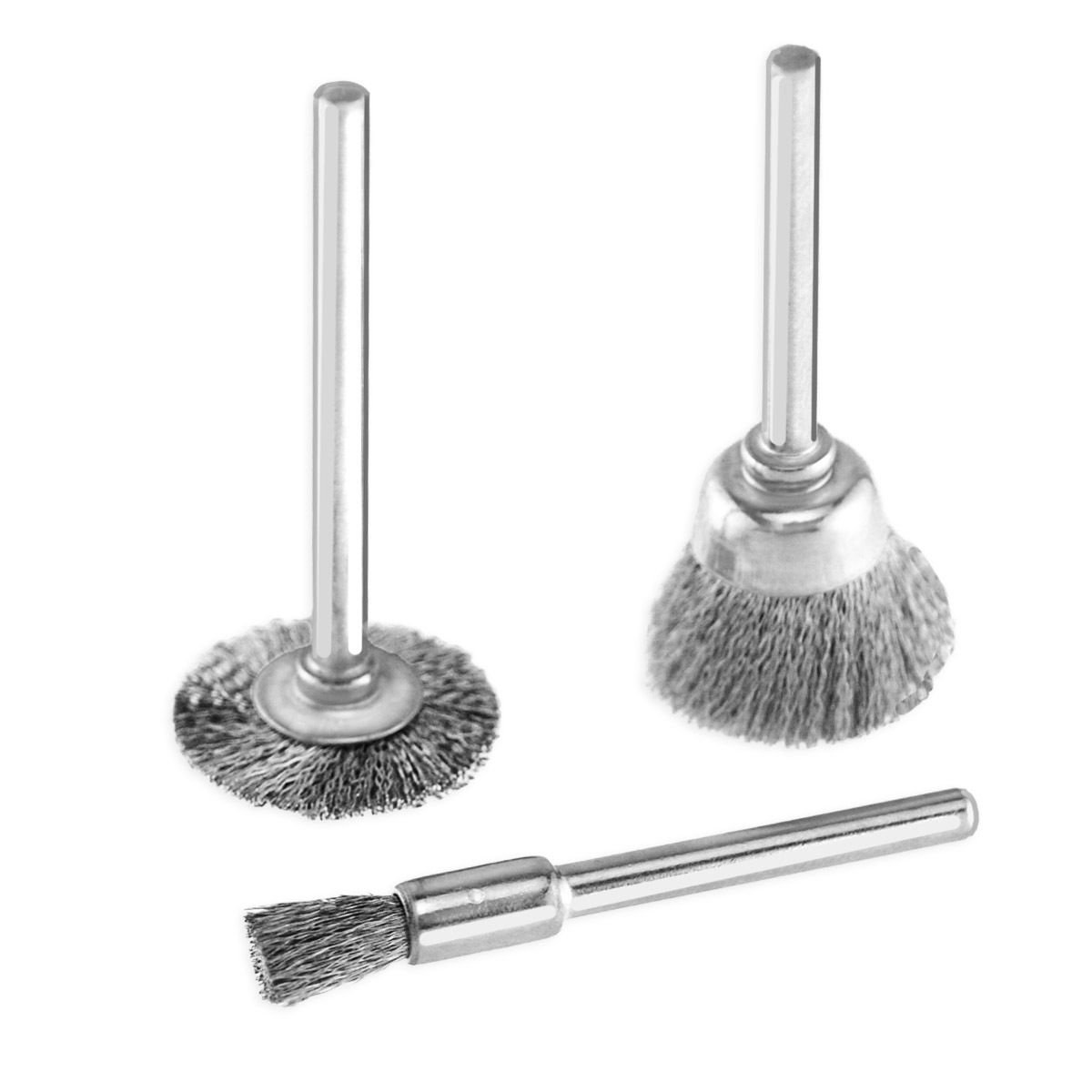"""Generic NV_1008002109_YC-US2 remelSte Brush Set - Wheel, Brus 3pc Rotary - Wh Cup, End 1/8"""" Cup, Tool Steel Wire /8"""" S Shank fits Dremel 3pc Rot"""