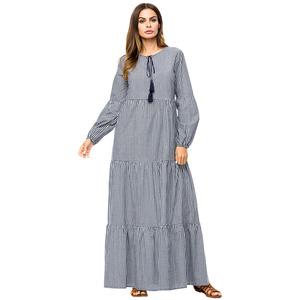 8fe5d409cc77 2019 Modest muslim women gray long sleeve round-neck loose abaya style maxi  Kaftan in