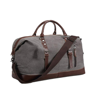 OEM hot selling custom travel overnight PU leather blank canvas weekend duffel bag