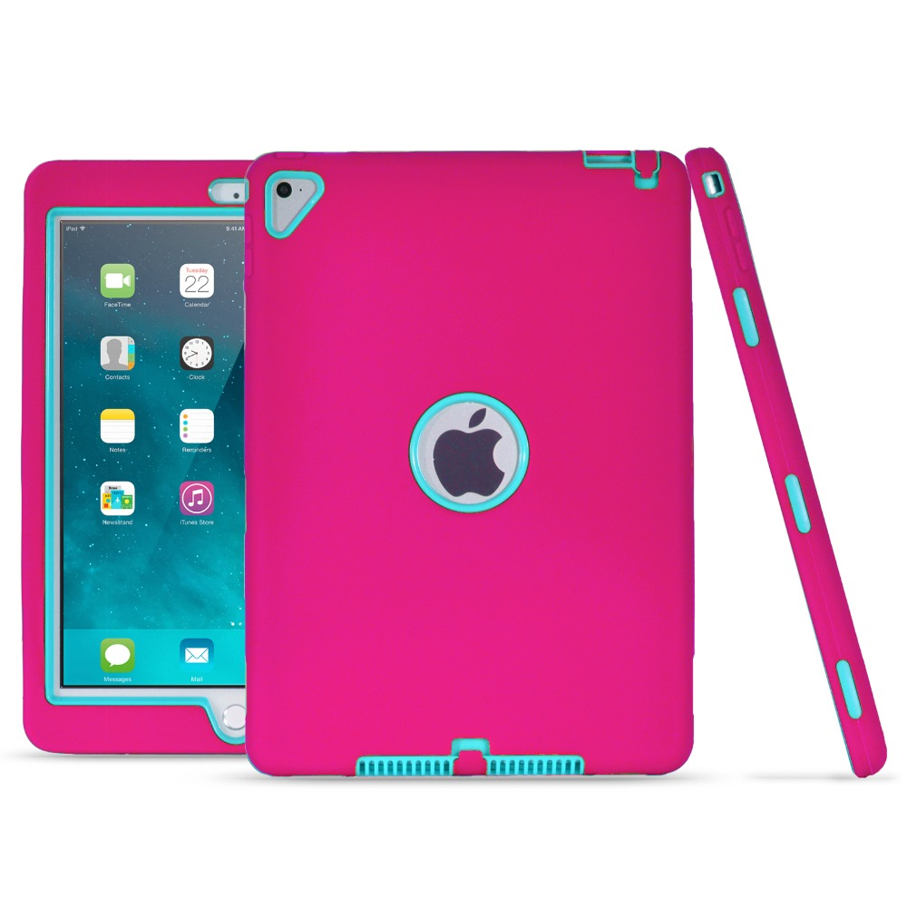 For <strong>iPad</strong> Pro 9.7 Case Kickstand High Impact Resistant Hybrid Three Layer Armor Defender Full Body Protective Case Cover