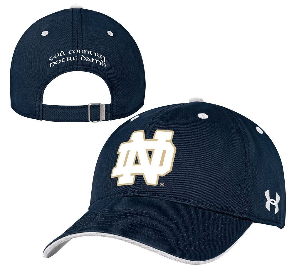 c837c9ed001 Get Quotations · Under Armour NCAA Notre Dame Fighting Irish Structured  Cotton Adjustable Hat Cap-Navy-God