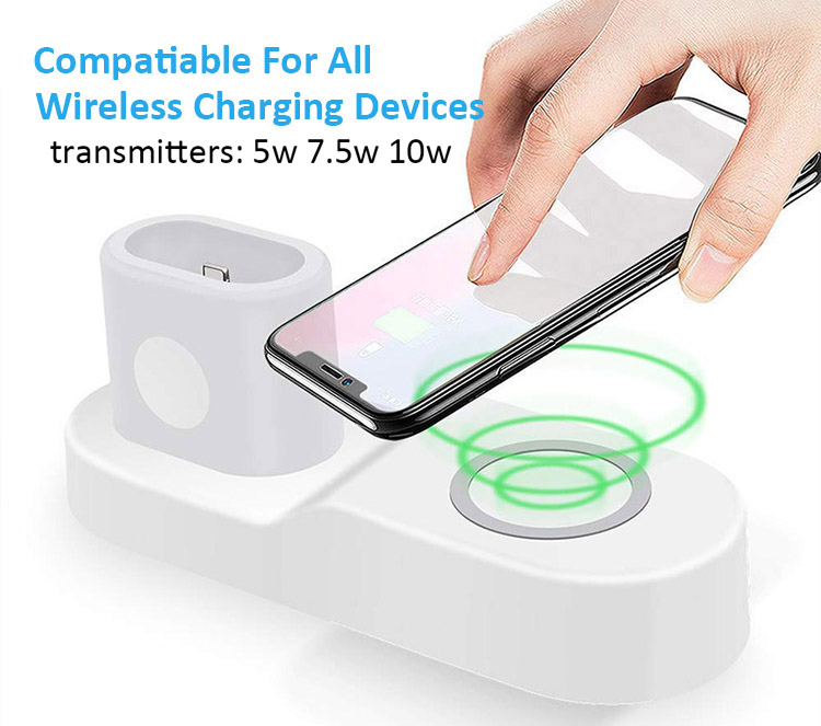 Premium 4 IN 1 Wireless Charger Station for Apple Earphone and Smart watch,10W Fast Charging Pad Dock Stand for All Cellphone