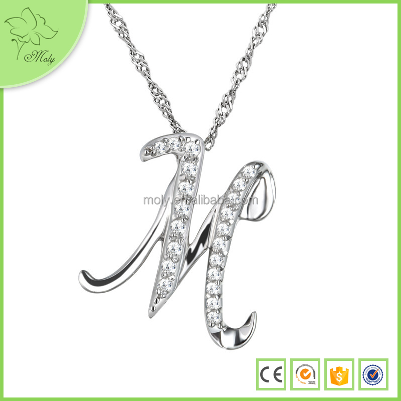 Crystal Sterling Silver Letter M Pendant Necklace Jewellery