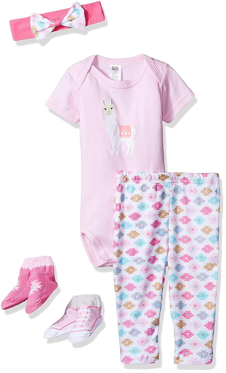 Hudson Baby Baby 5 Piece Bodysuit, Pant, Cap and Socks Gift Set