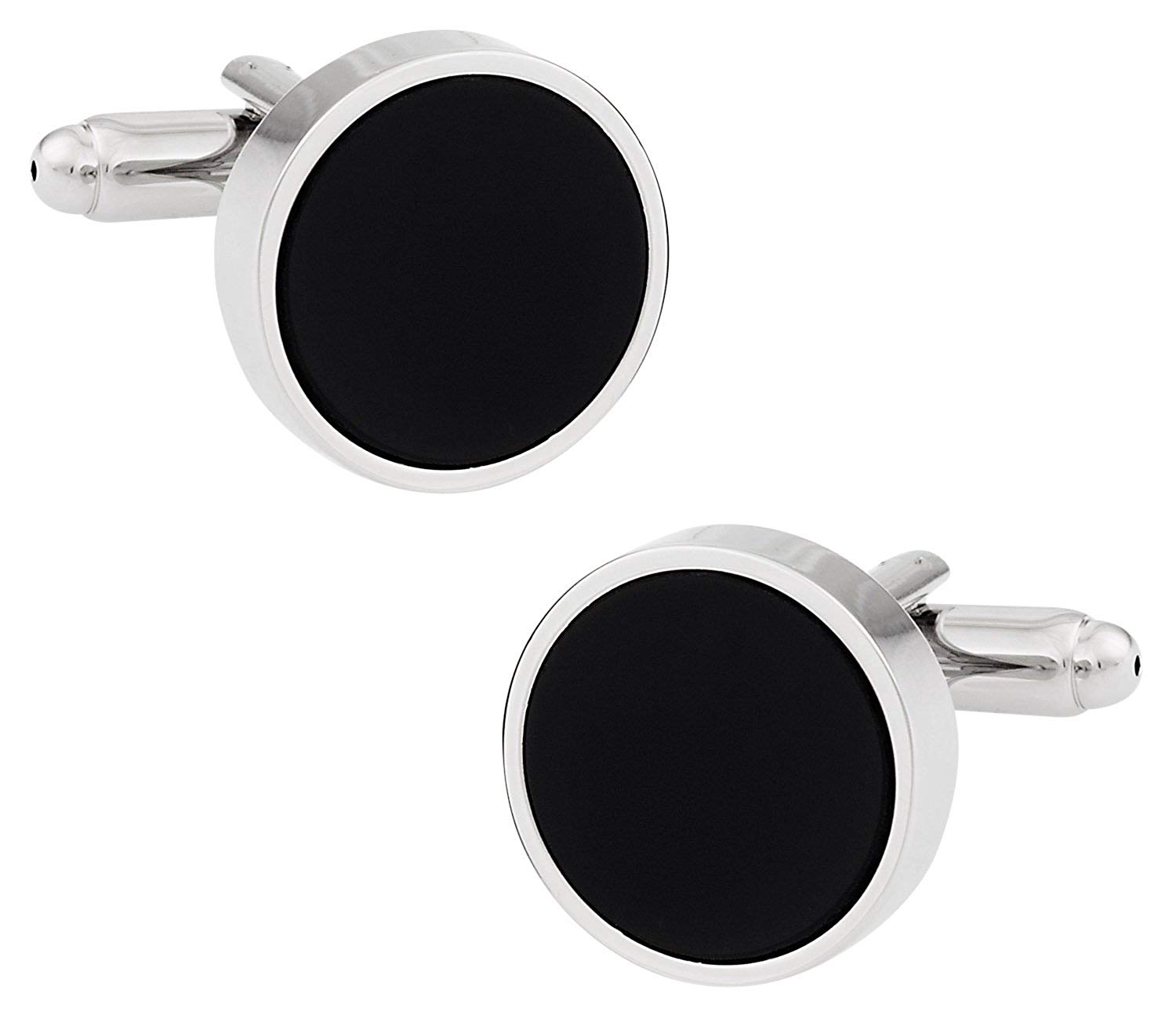 Cuff-Daddy Black Enamel Cufflinks Silver-Tone with Presentation Box