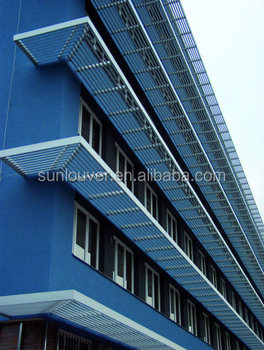 Building overhang metal aluminum solar shading view for Fixed price house build