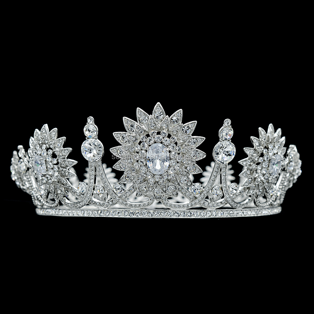 Real Austrian Crystal Rhinestone Wedding Bridal Full Tiara Crown Women Hair Accessories SHA8690