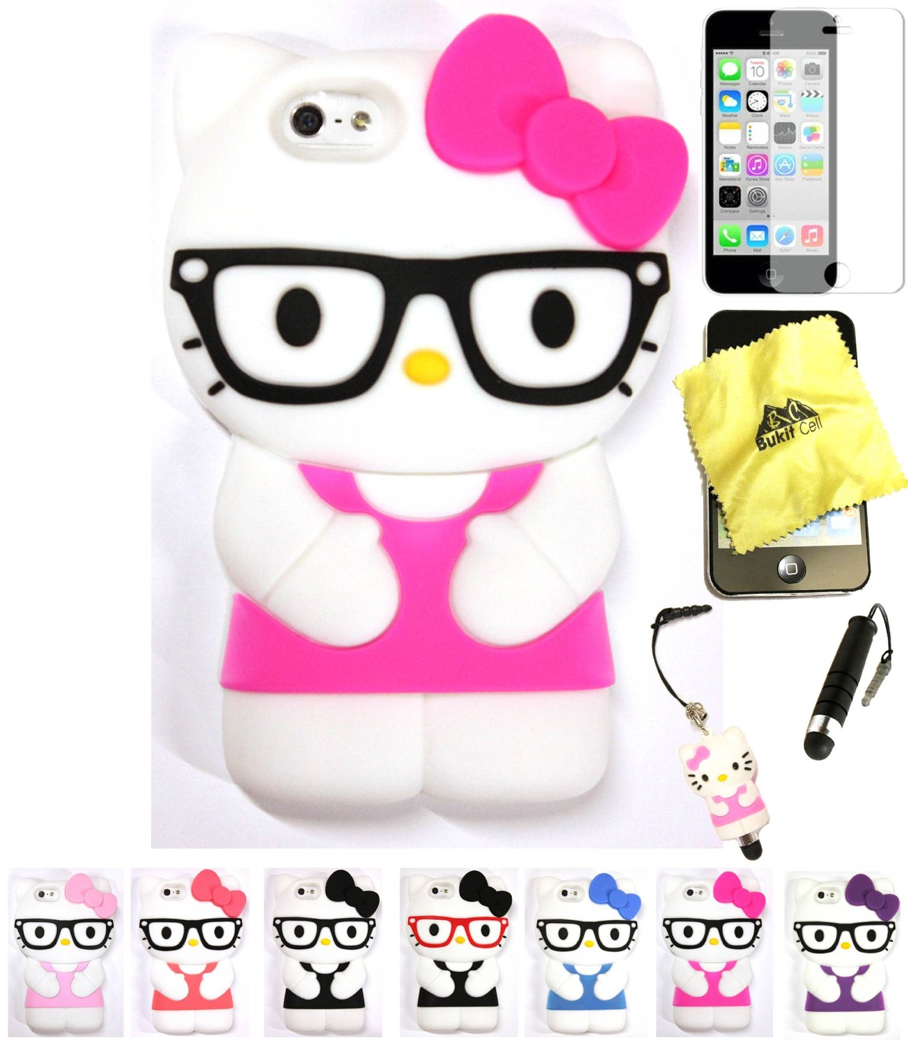 Bukit Cell Hello Kitty Case HOT PINK 3D Hello Kitty (with Glasses) Silicone Case for IPHONE 5C + Cleaning Cloth + Hello Kitty Figure Stylus Touch Pen + Screen Protector + METALLIC Stylus Touch Pen