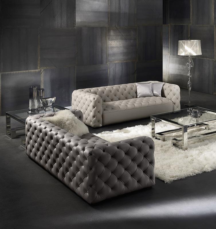 Modern Italian Living Room Sofas Tufted Genuine Leather