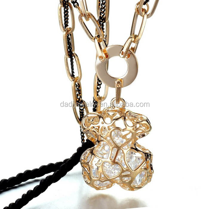 Fashion Sexy Girl Crystal Rhinestone Long Necklace Retro Women Chain Pendant