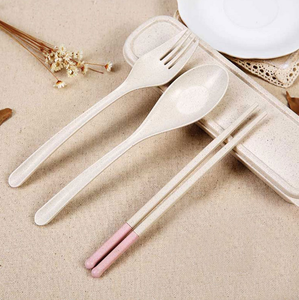 Health Products Biodegradable Wheat Straw Fiber Tableware Wheat Straw Fiber Chopsticks Spoon Fork Set