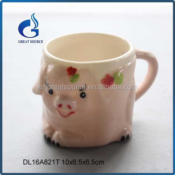 Cute pig shaped ceramic ice cream cup 1 handle