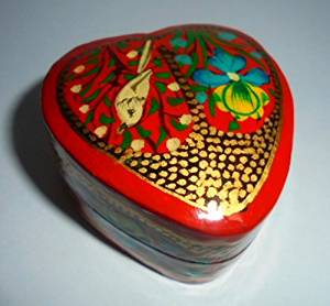 Artcollectibles India Rare HANDPAINTED Jewelry / TRINKET BOX Christmas Gift ---Beautiful KASHMIR