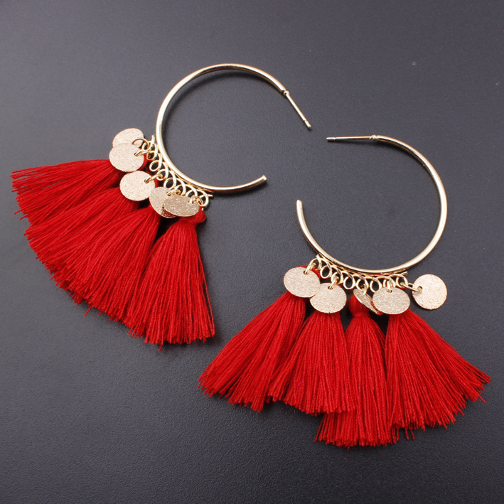 New european and american popular semicircle ornaments bohemian style women tassel pendant hoop earrings