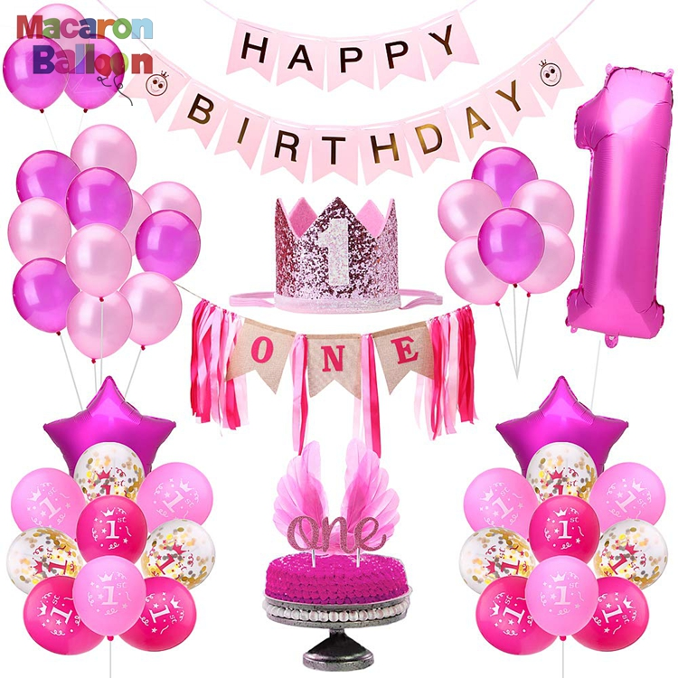 <strong>First</strong> Birthday Decorations For Girl 1St Smash Cake Fun Party Set Pink Decor - Paper Crown Hat ONE Cake Toppers And Banner KK746A