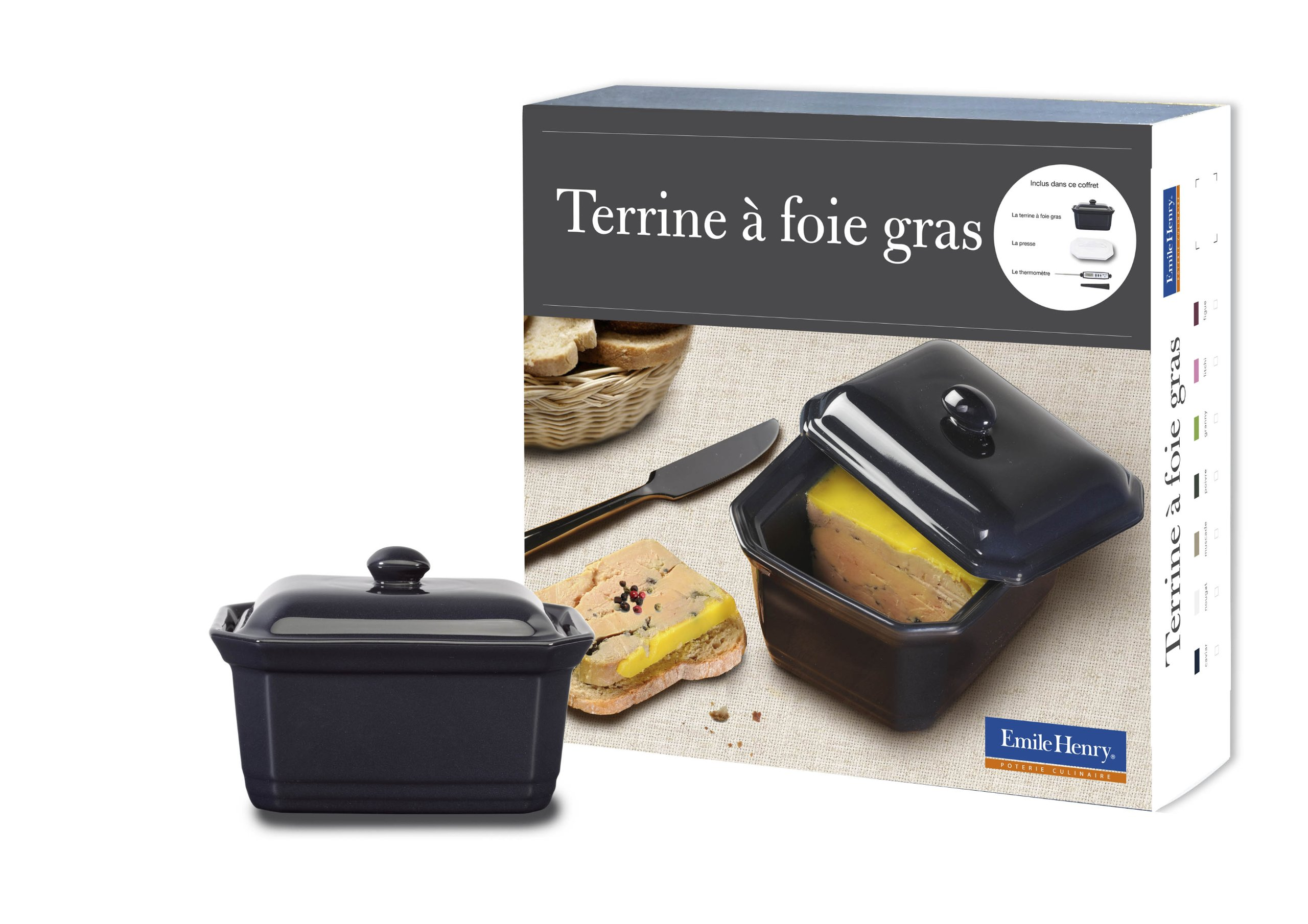 Emile Henry - 439860 - Foie Gras Gift Set: Terrine, Press & Thermometer - Colour Caviar