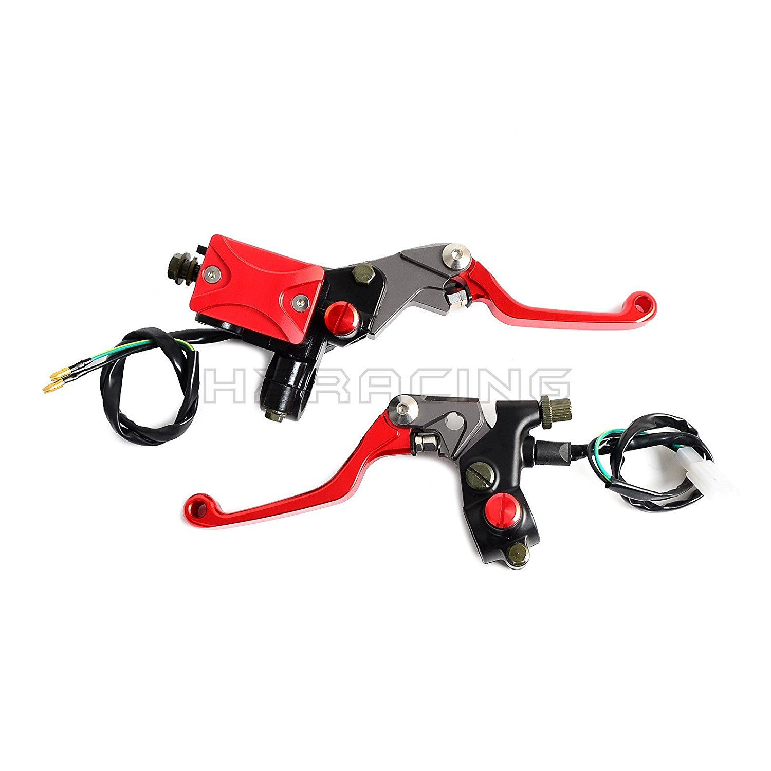 H2RACING Universal 22mm Anodized Red Brake Master Cylinder & Cable Clutch Perch Levers for Honda CRF250R/X 2004-2015 CRF125F/150R/450R,X CRF250L/M CBR250R/300R XR230/250 SL230,CRM250R/AR