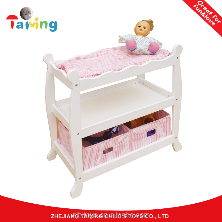2017 New design Hot selling Pretend play Wooden Furniture Doll Bunk beds