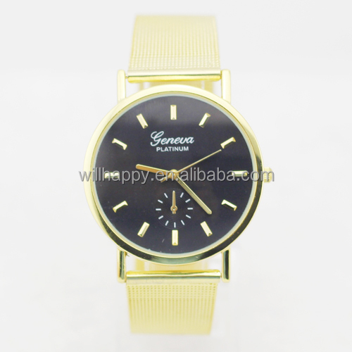 WJ-4088 colorful personality face net belt attractive cheap Geneva alloy wrist watch