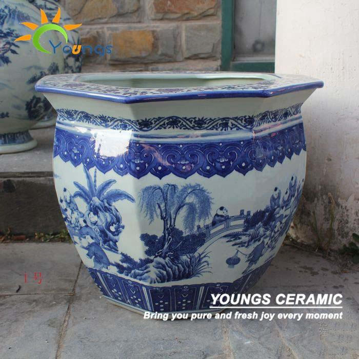 Antiguo chino grande azul blanco de cer mica macetas - Jardineras de ceramica ...