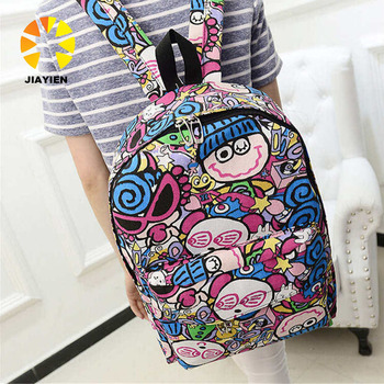 ecd9b4bf7e52 Korean Canvas Printing Backpack Women School Bags for Teenage Girls Cute  Bookbags Vintage Laptop Backpacks Female