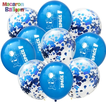 15Pcs Blue Astronaut Space Planet And Latex Confetti Balloons For Outer Space Theme Party Decorations KK739A