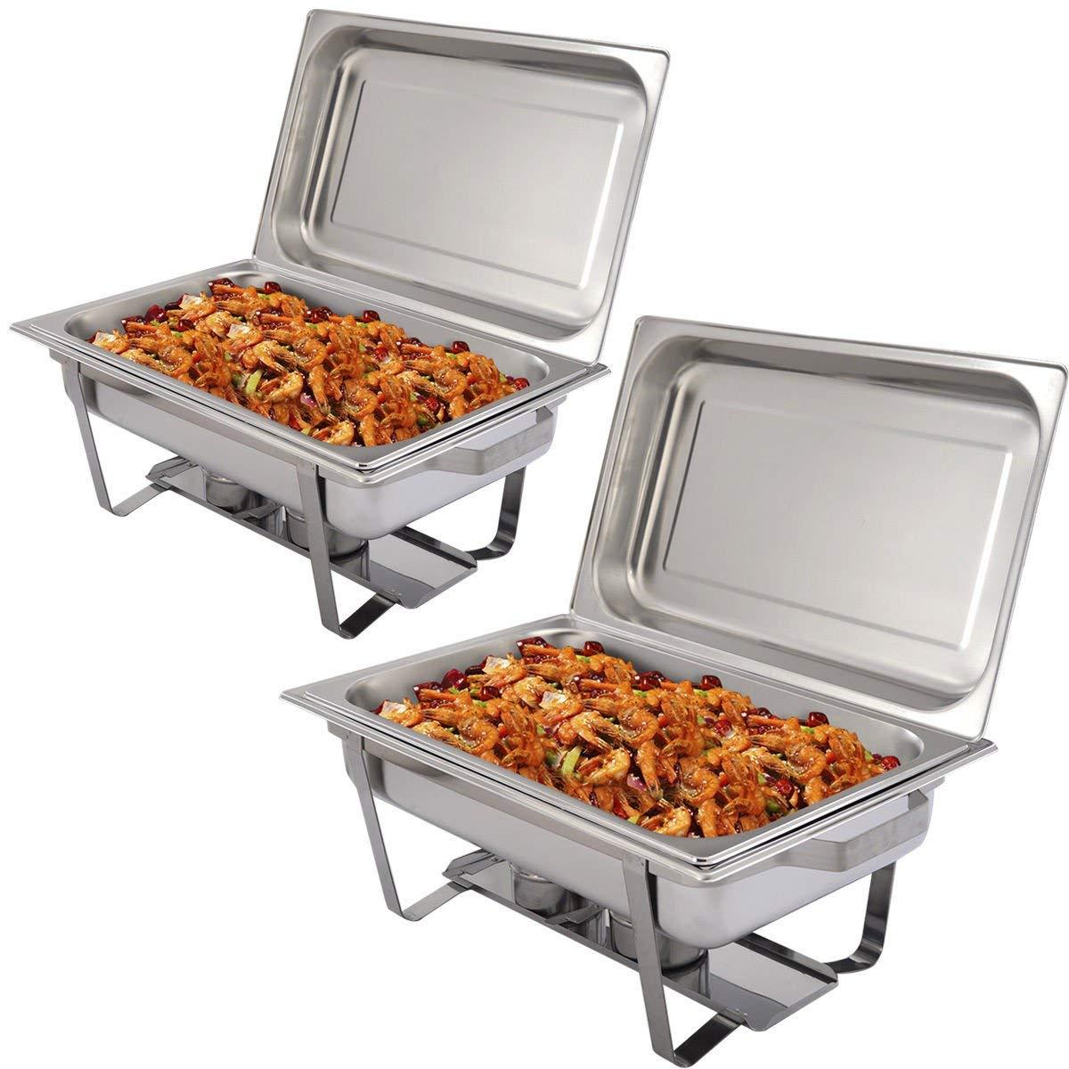 2 Packs of 9 Quart Stainless Steel Rectangular Chafing Dish Full Size