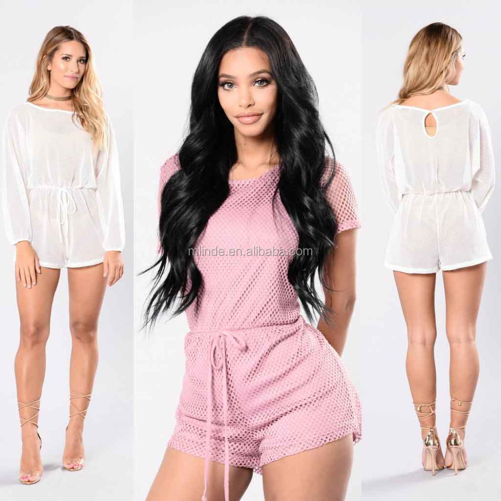 736787186a102 Women Sexy Jumpsuits Swim Cover Up Boat Neckline Long Sleeve Fishnet Romper