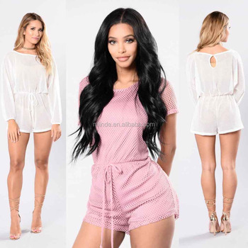 0f9344054a0f Women Sexy Jumpsuits Swim Cover Up Boat Neckline Long Sleeve Fishnet Romper