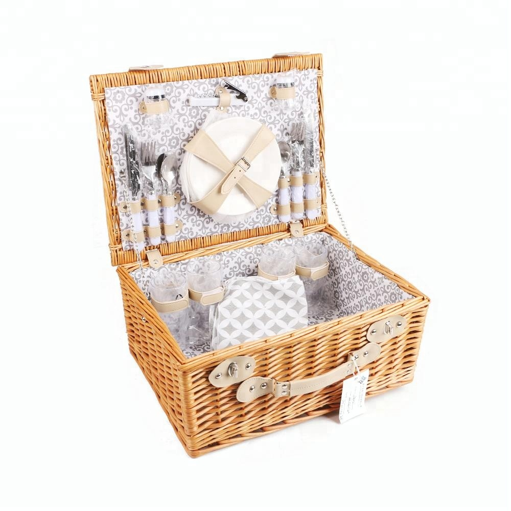 Basket Small Painted Wicker With Polka Dot Lining