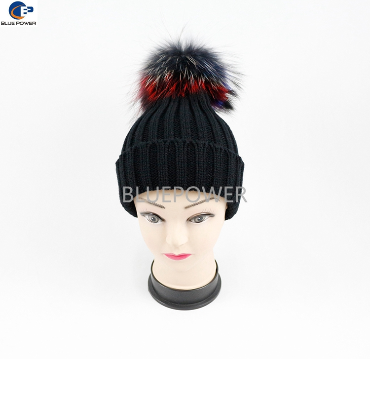 2016 Fashion hat black color knitted beanie with detachable multi color 15 cm raccoon fur pom pom hats TD 1819