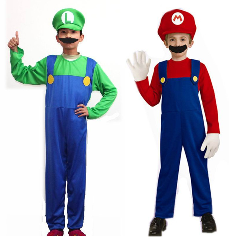 Buy Two Color Children Super Mario Costumes Kids Cospplay