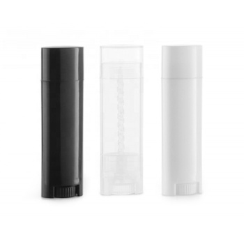 0.15oz 4.5g White Black Clear Empty Chapstick Lipstick Container Oval Lip Balm Tube