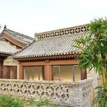 Chinese old roof tiles wooden temple design for home