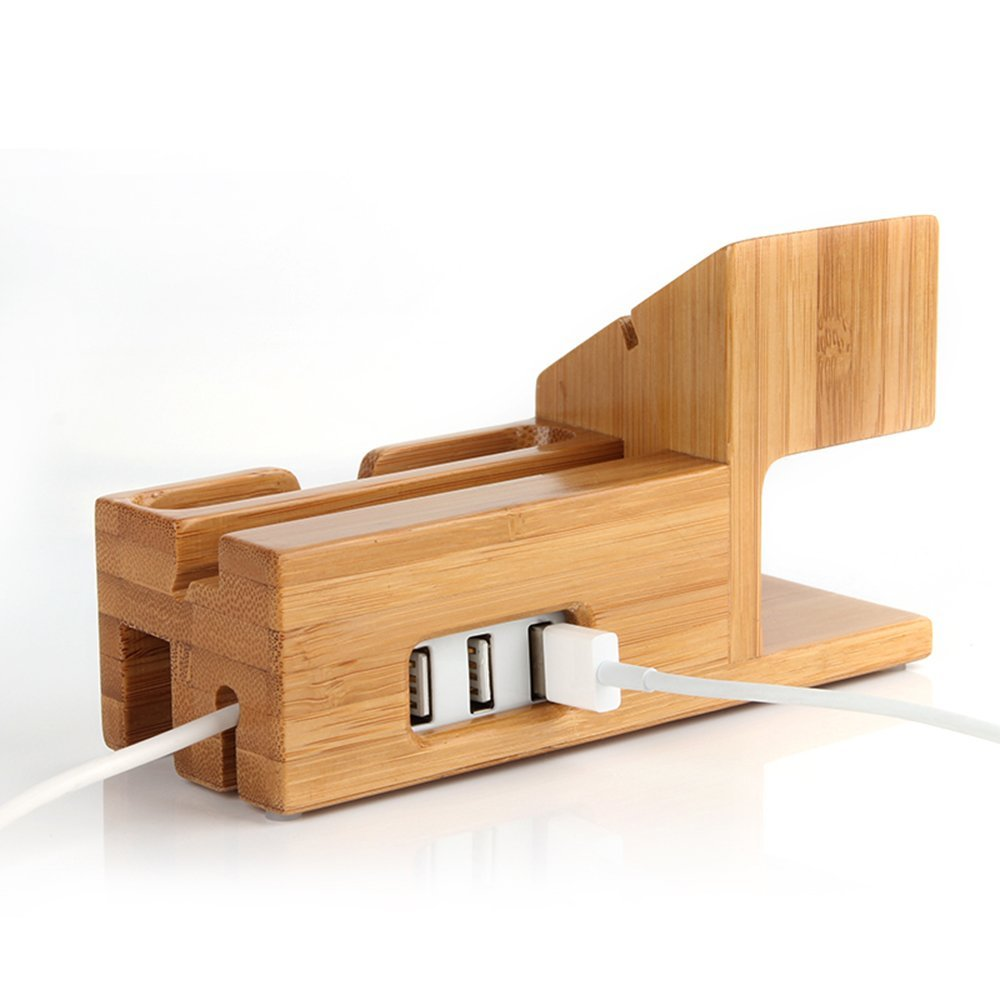 Kobwa Bamboo Watch Stand 3 USB Ports Hub Docking Charging Station Dock,Desk Charger Organizer and Displays Stand Watch Stand Holder for Apple Watch IPhone 7 plus/6s/6/5s,ipod