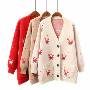 New design v neck casual spring autumn fashion womens cardigan sweater knitted coat