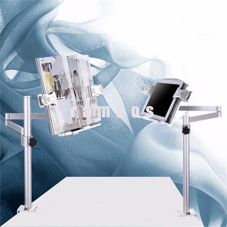 Portable Aluminum Clamp Reading Book Display Holder Cradle Desk Mount Universal Tablet
