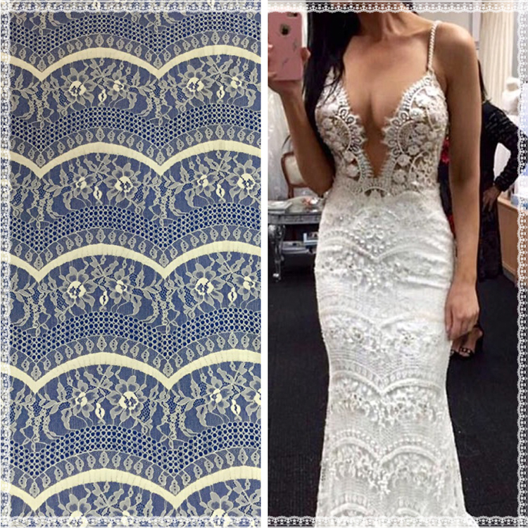 Factory price wholesale high quality fashion show design white evening dress wedding dress guipure french lace fabric