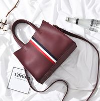 2018 Fashion Handbags Women Stripe Street Snap Tote leather Shoulder Bags