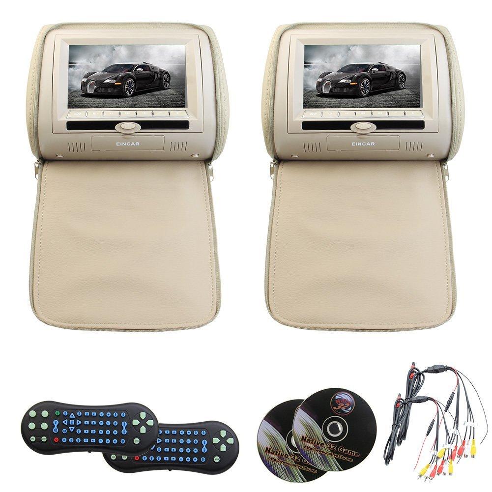 Eincar Universal Pair of 7 inch HD screen car headrest dvd player monitor USB/SD/DVD/CD/MP3/MP4 Support 32 bit Games FM IR headrest Multimedia Player both support dvd play function (Beige)