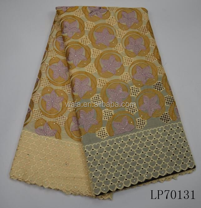 Yellow Swiss Voile Lace Fabric African Lace Fabric Cotton Embroidery With Stones