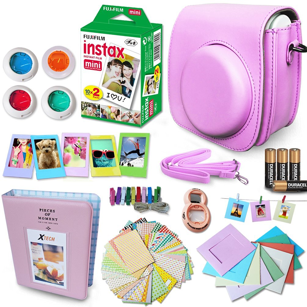 Xtech PINK Accessories Kit for Fuji FujiFilm Instax Mini 8 Cameras includes: 20 Instax Film + Custom Fitted Case for Fuji Mini 8 Cameras + Photo Album + Assorted Stickers / Paper Frames +MORE