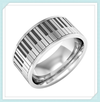 Stainless Steel Clic Pattern Enth And Epoxy 9mm Width Piano Rings
