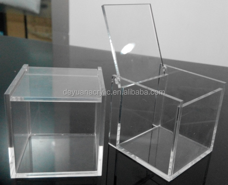 Acrylic Trinket Boxes : Flip up acrylic trinket box hinged lid boxes small