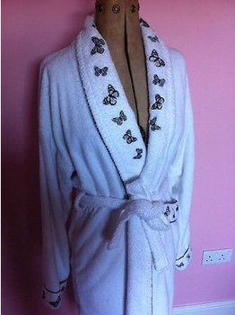 Collar Buy coral Towelling Robe Fleece Gown Guinness Bath Gown Butterflies Luxury Thick Robe Dressing shawl QdorxWCBe