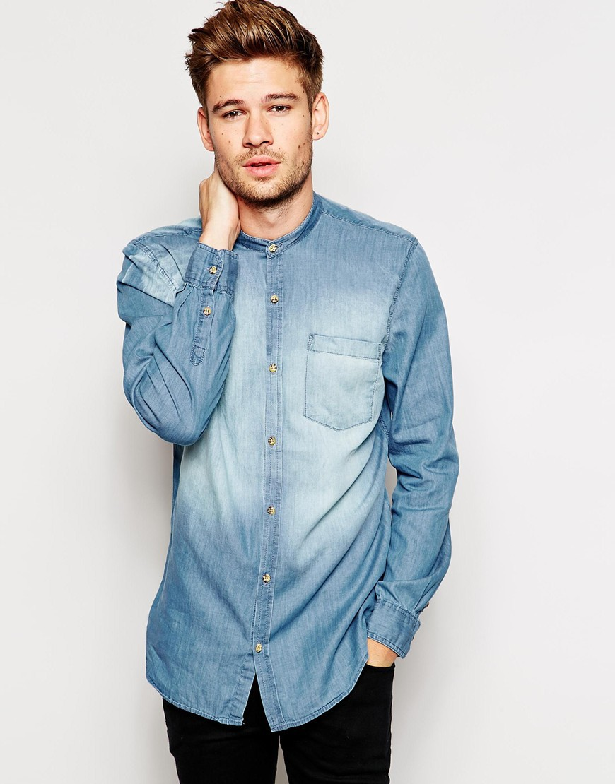 new stylish design denim shirt men buy denim shirt men