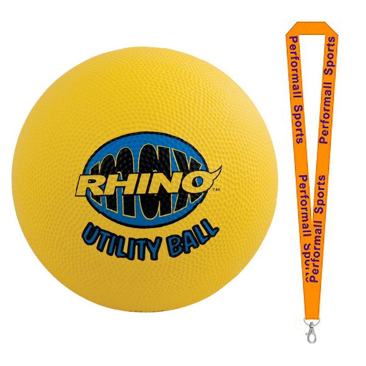 Champion Sports Bundle: Rhino Max 8.5 Utility Ball Yellow with 1 Performall Lanyard RMX85-1P