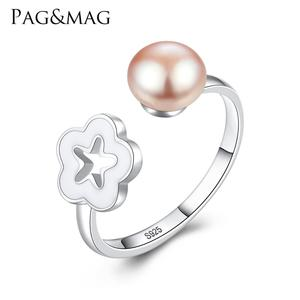 PAG&MAG Plum Flower Seashell and Natural Pearl Ring Silver 925