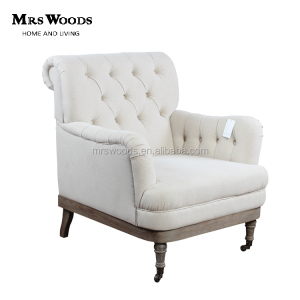 white linen upholstery tufted accent chair