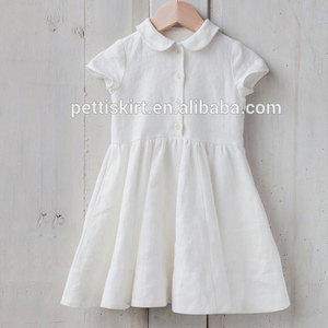 Adorable White Dresses Cute Girls Frocks Designs Wholesale Kids Linen Dress